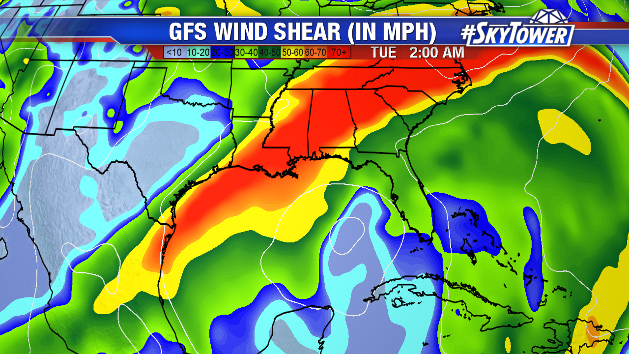 GFS Wind Shear with Text